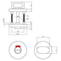 Intersteel Rozet met toilet-/badkamersluiting Ø55x8 mm aluminium zwart