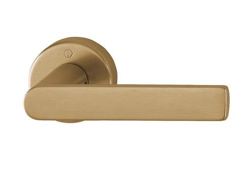 Hoppe poignées de porte LOS ANGELES avec rosace ronde (9mm) Laiton sat. Resista® sans BB