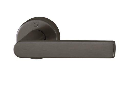 Poignées de porte Hoppe LOS ANGELES avec rosace ronde (9mm) Noir sat. Resista®