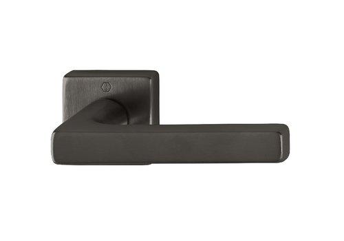 Poignées de porte Hoppe noires DALLAS avec rosace carrée 9mm - Noir sat. Resista®