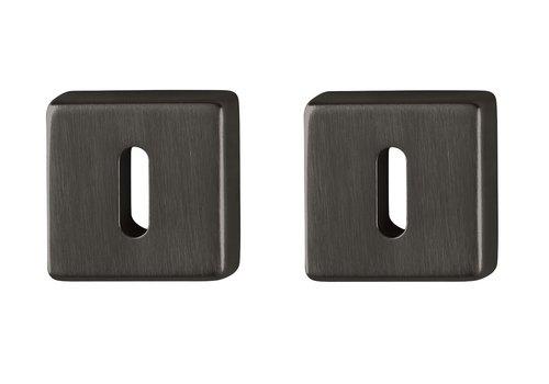 Hoppe Resista sleutelplaatjes zwart gesatineerd vierkant Ø52x8mm