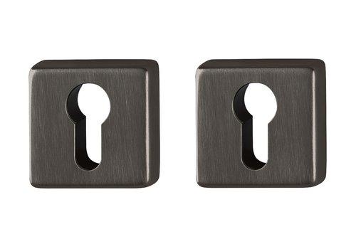 Hoppe Resista PC plates square black satin Ø52x8mm