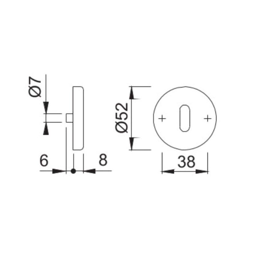 Hoppe Resista sleutelplaatjes rond 52x8mm - messing gesatineerd