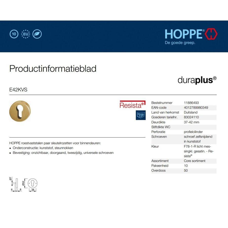 Hoppe Resista cilinderplaatjes (52x8mm) messing gesatineerd