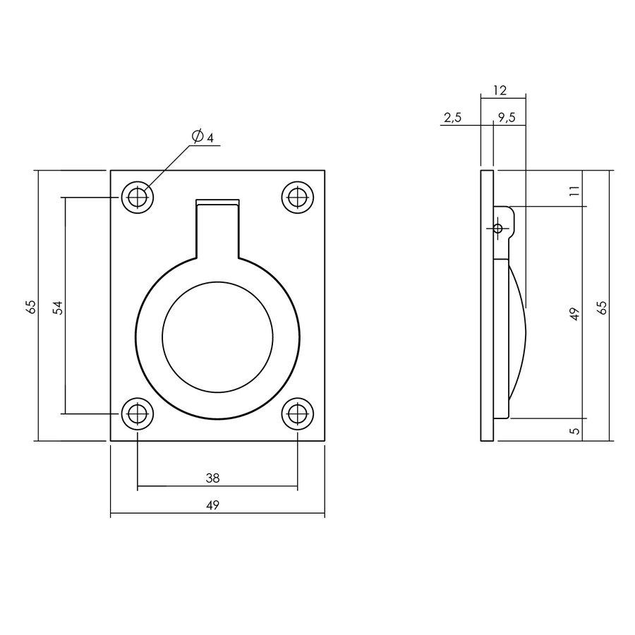 Intersteel Luikring rechthoekig 65 x 49 mm messing getrommeld
