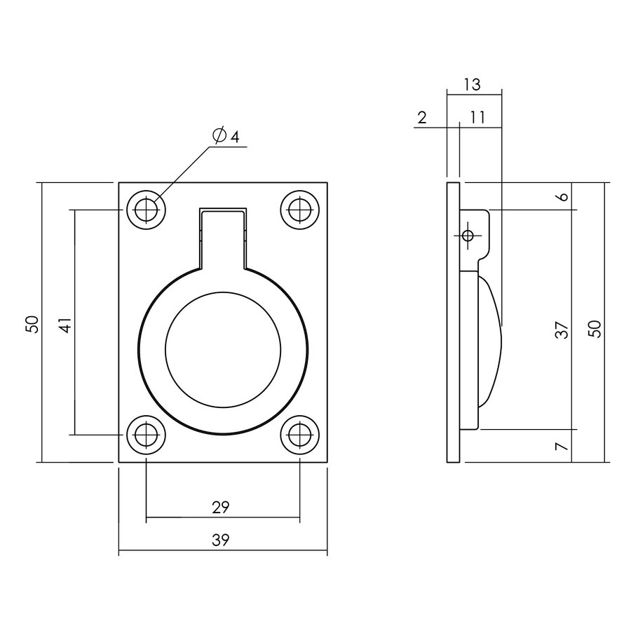 Intersteel Luikring rechthoekig 50 x 39 mm messing getrommeld
