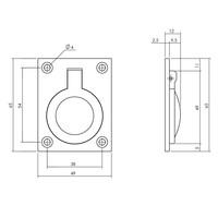 Intersteel Luikring rechthoekig 65 x 49 mm messing gelakt