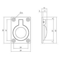 Intersteel Luikring rechthoekig 50 x 39 mm messing gelakt
