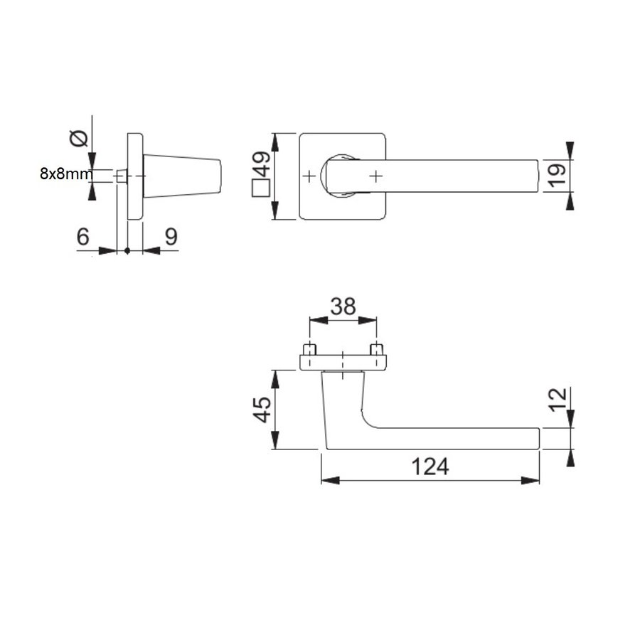 10 jaar garantie! Hoppe deurklinken DALLAS met vierkante rozas 9mm - messing gesatineerd Resista® F78