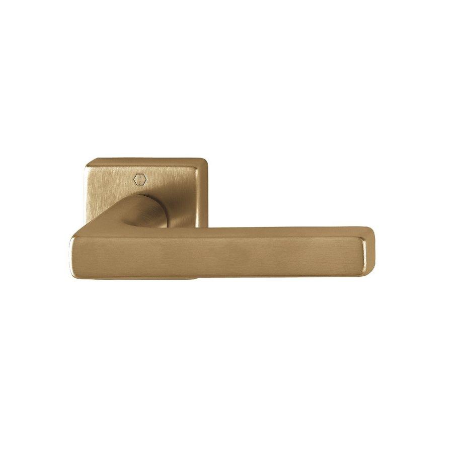 Hoppe deurklinken DALLAS met vierkante rozas 9mm - messing gesatineerd Resista® F78 zonder sleutelplaatjes