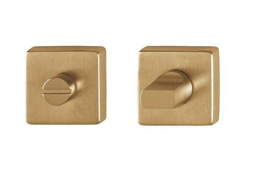 Hoppe Resista WC garnituur vierkant messing gesatineerd Ø52x8mm