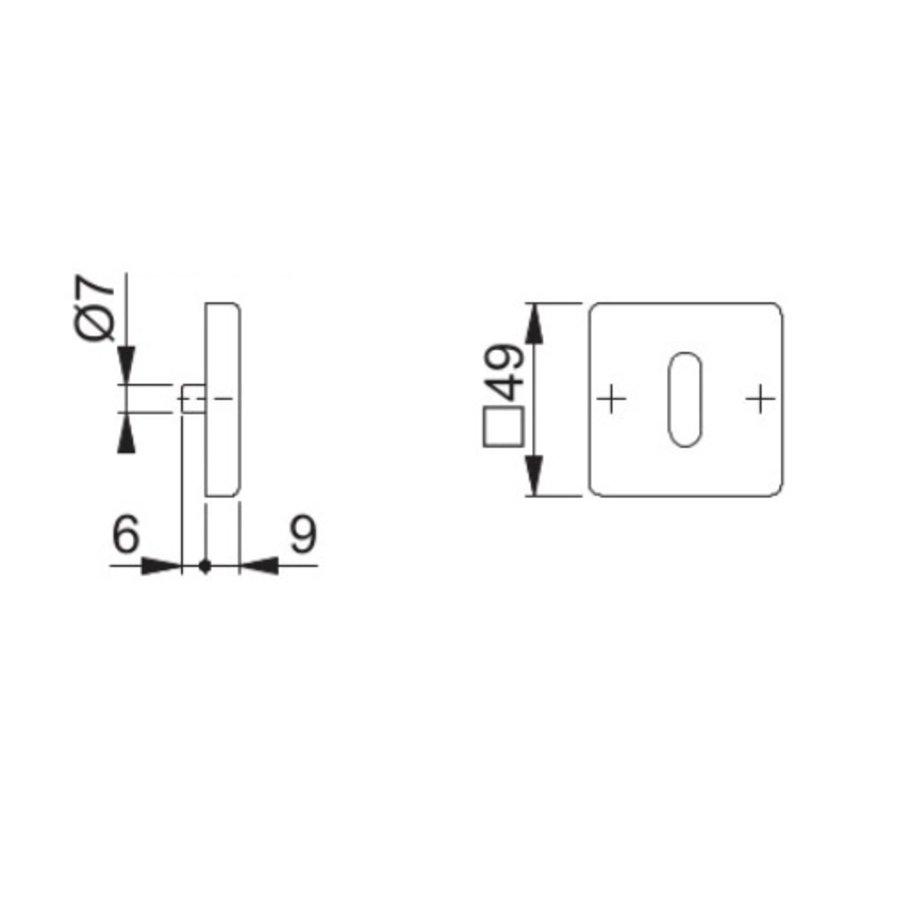 Hoppe Resista sleutelplaatjes vierkant messing gesatineerd Ø52x8mm