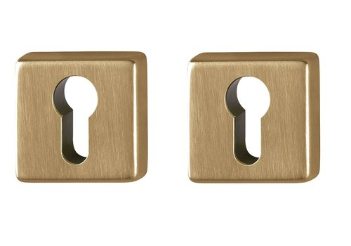 Plaques cylindriques Hoppe Resista laiton satiné carré 8mm