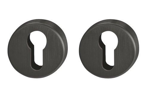 Hoppe Resista cilinderplaatjes zwart gesatineerd - Ø52x8mm