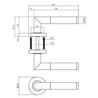 Intersteel Deurkruk Bastian op ronde rozet Ø52x10 mm antracietgrijs