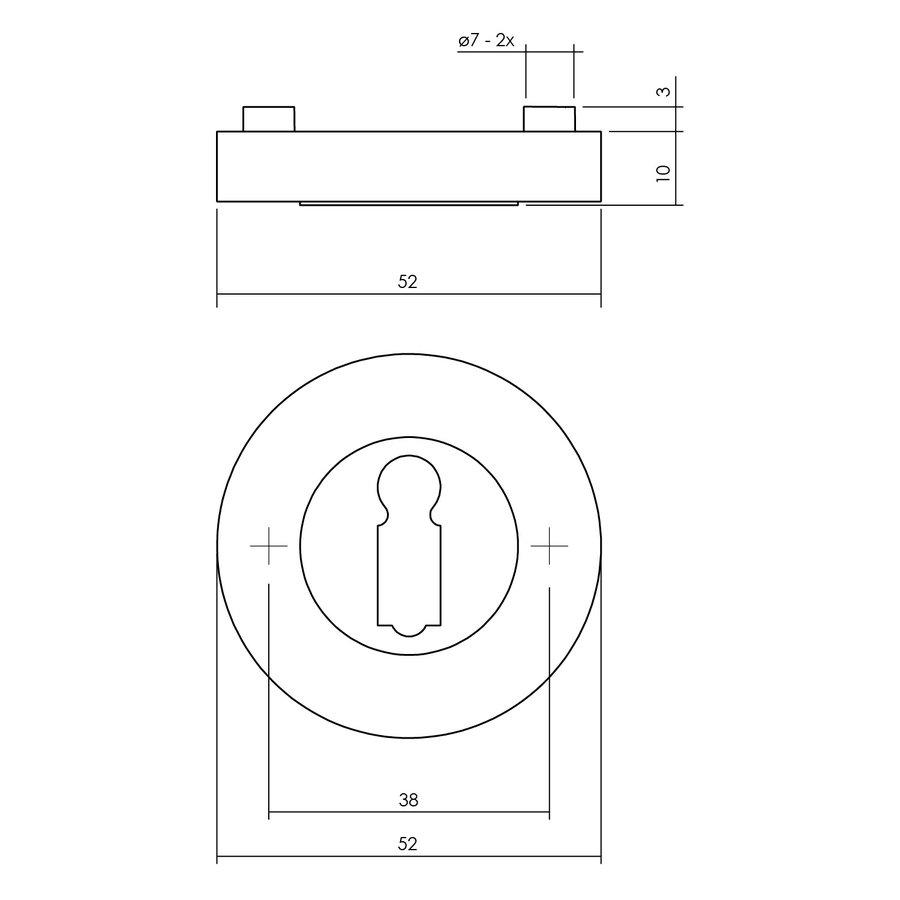 1 Intersteel Rozet met sleutelgat Ø52x10mm antracietgrijs