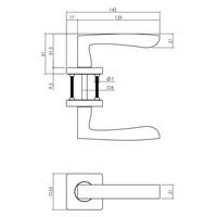 Intersteel Deurkruk Minos op vierkante rozet 55x55x10 mm antracietgrijs