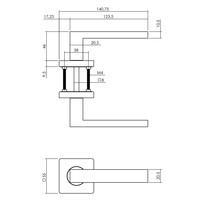 Intersteel Deurkruk Hera op vierkante rozet 55x55x10 mm antracietgrijs