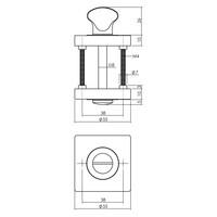 Intersteel Rozet met toilet-/badkamersluiting vierkant antracietgrijs
