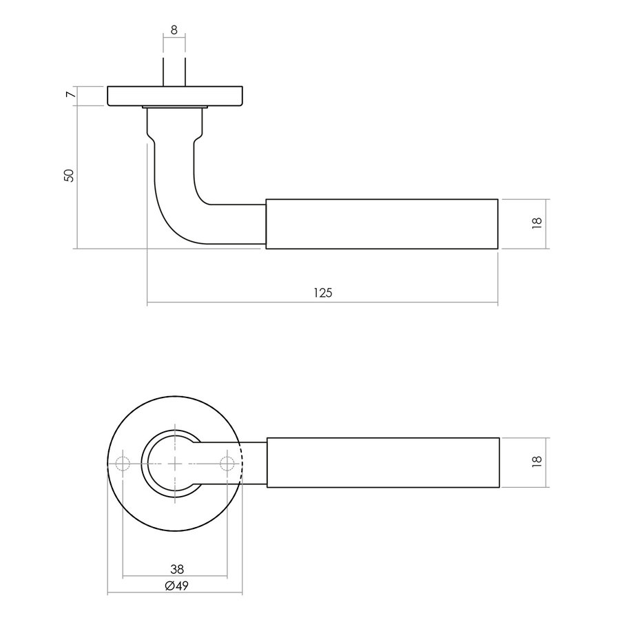 Intersteel Deurkruk Palma met rozet ø49x7mm verdekt messing getrommeld