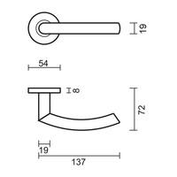 RVS deurklinken Wals 19 mm zonder sleutelplaatjes