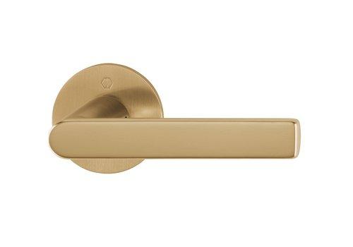 Poignées de porte LOS ANGELES avec fines rondes en or rose 2mm Laiton sat. Resista® sans BB