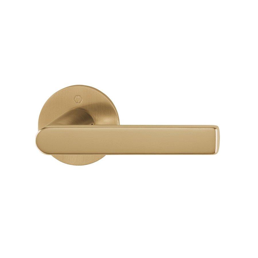 Hoppe deurklinken LOS ANGELES met dunne ronde rozas 2 mm - messing gesatineerd - Resista®