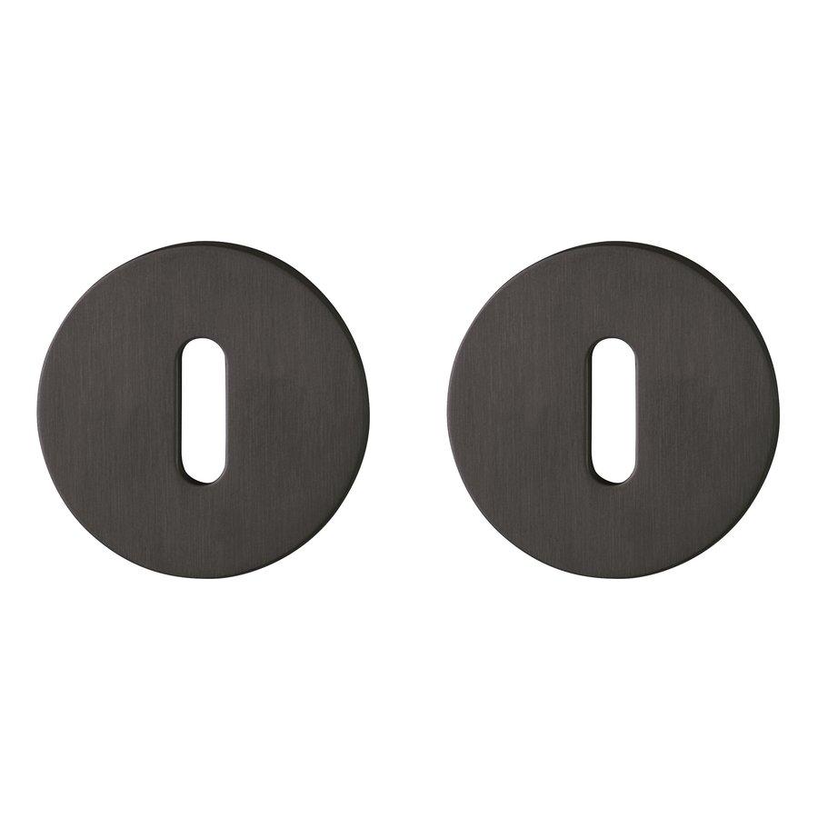Hoppe Resista dunne sleutelplaatjes rond 52x2mm - Zwart gesatineerd