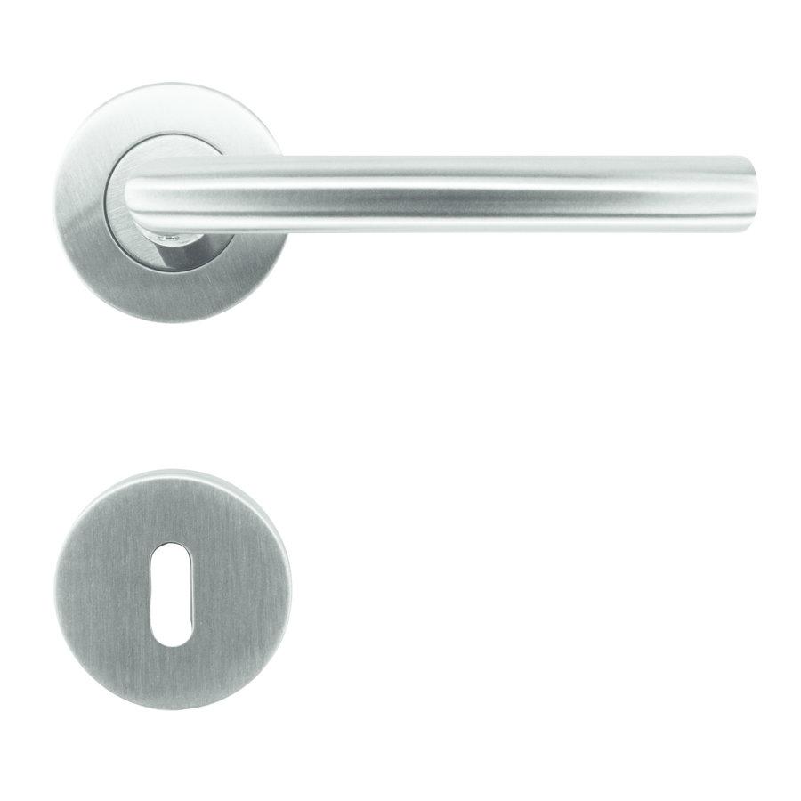 """RVS deurklinken """"Wals"""" 16mm met sleutelplaatjes"""