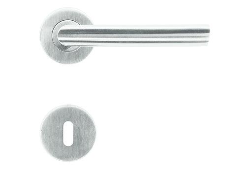 RVS deurklinken Ellips met sleutelplaatjes