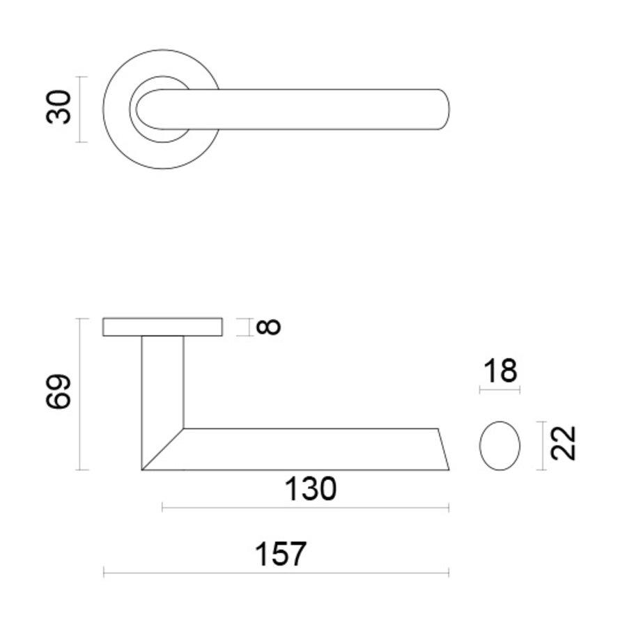 RVS deurklinken Ellips zonder sleutelplaatjes