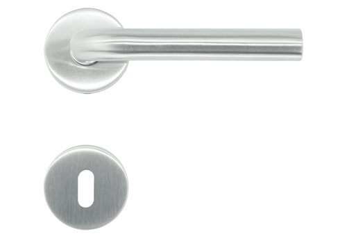 Stainless steel door handles Eco L shape 19 mm with key plates
