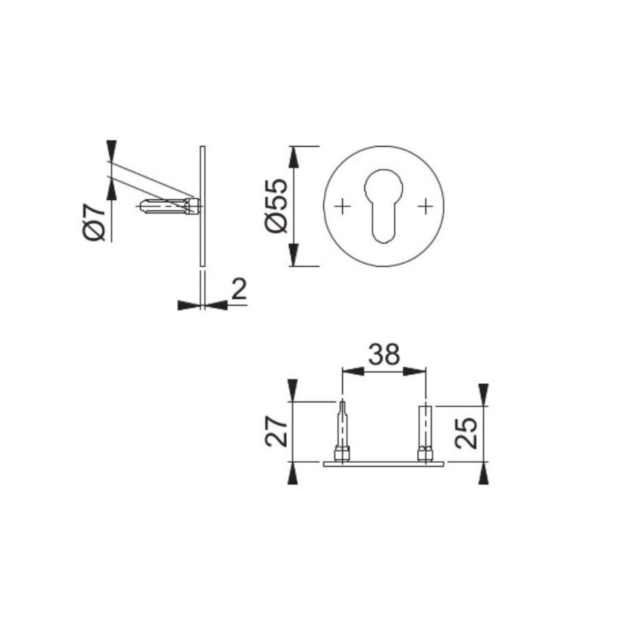 Hoppe Resista cilinderplaatjes dun (52x2mm) messing gesatineerd F78