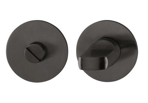 Hoppe WC garnituur Los Angeles rond met dun rozet 2 mm - Zwart F96