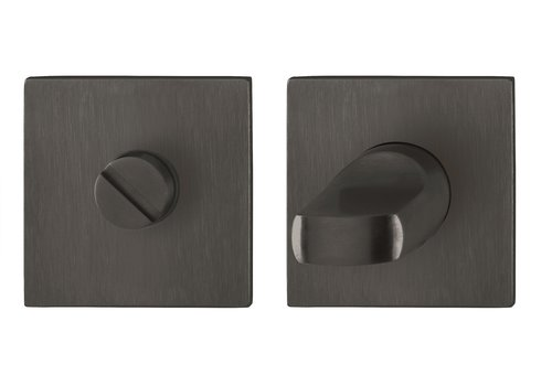 Hoppe WC set Dallas square with thin rosette 2 mm - Black F96