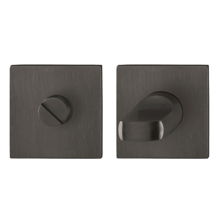 Hoppe WC garnituur Dallas vierkant met dun rozet 2 mm - Zwart F96