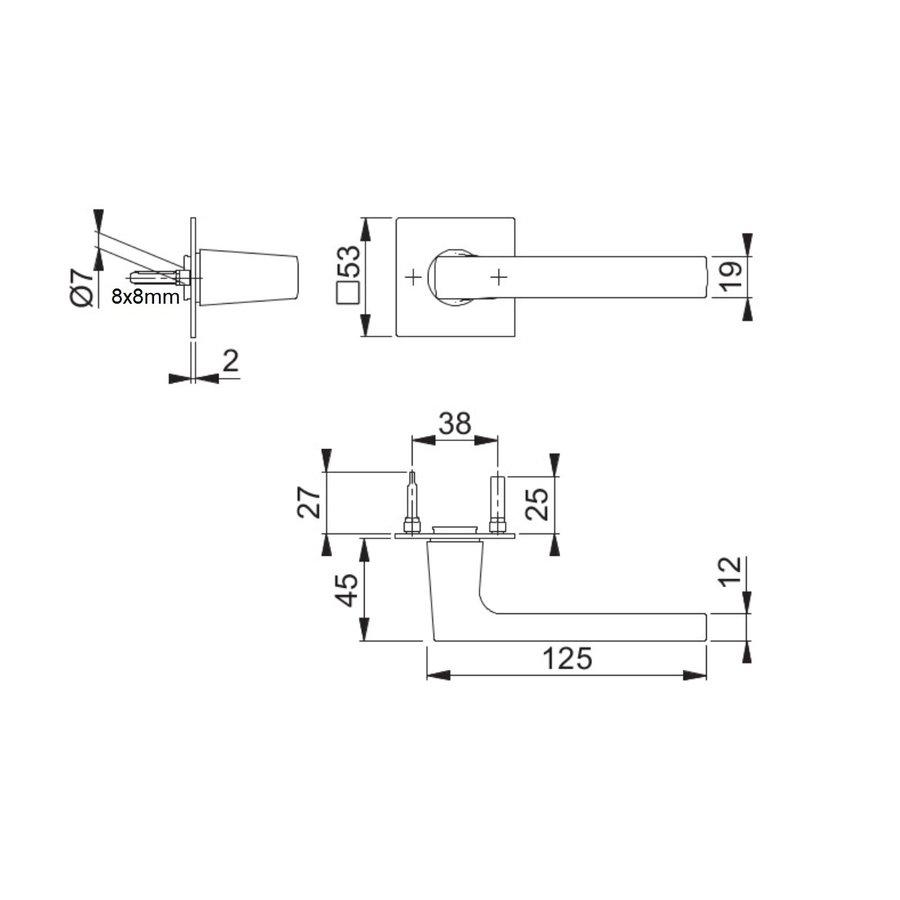 Hoppe deurklinken DALLAS met vierkante rozas 2mm - messing gesatineerd Resista® F78 zonder sleutelplaatjes