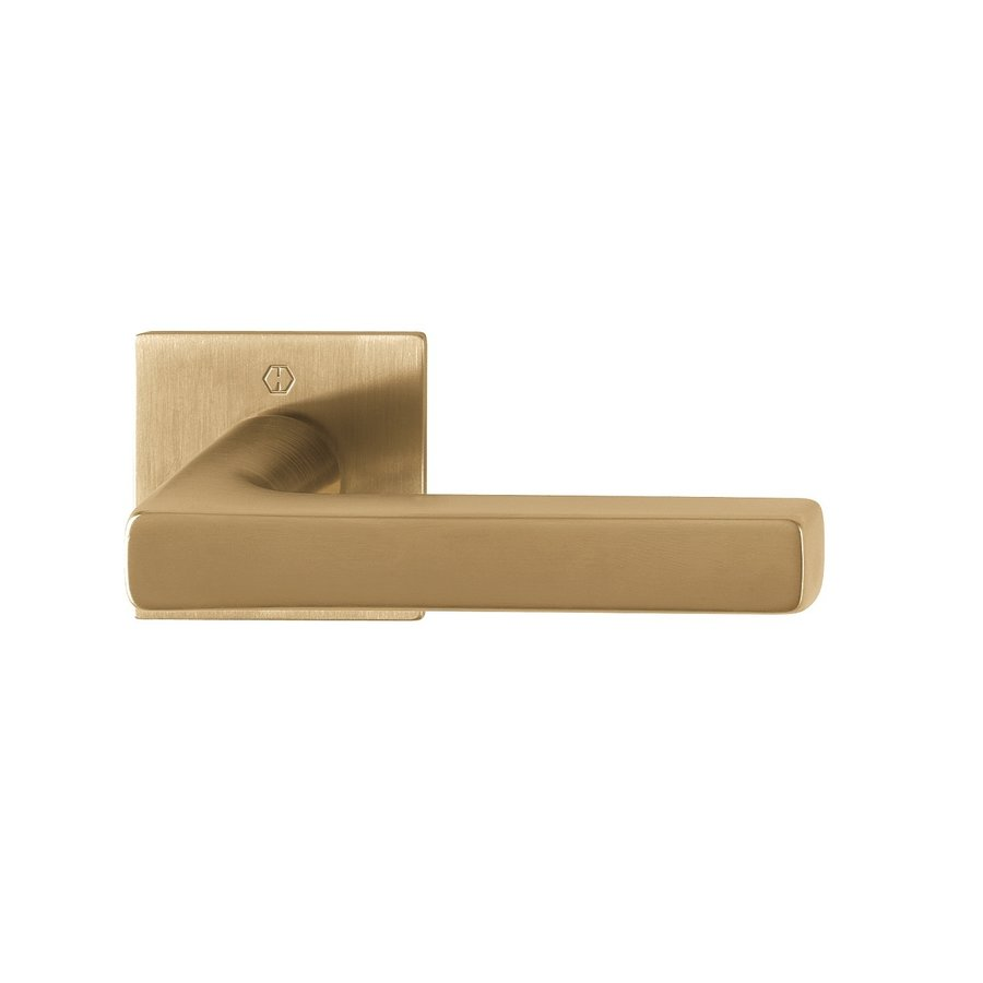 10 year guarantee! Hoppe door handles DALLAS with square rose axis 2mm - brass satin Resista® F78