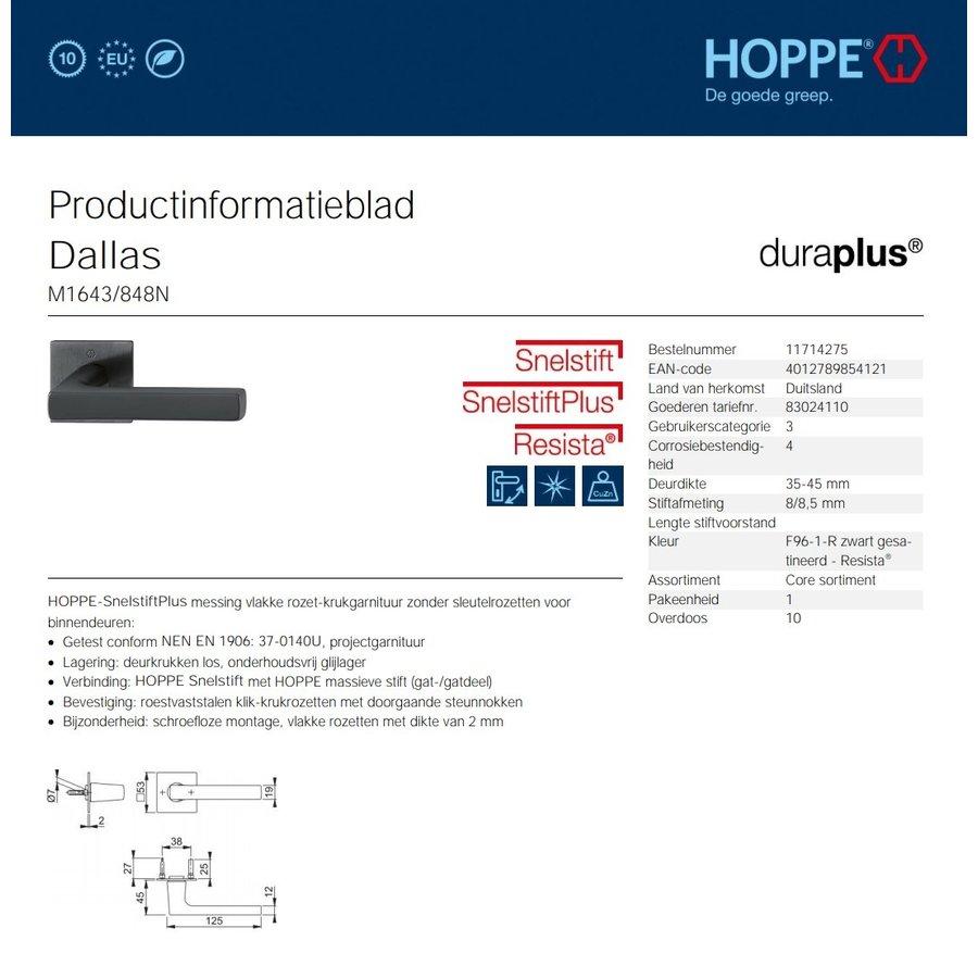 10 year guarantee! Hoppe door handles DALLAS with square rose 2mm - Black satin Resista® F96