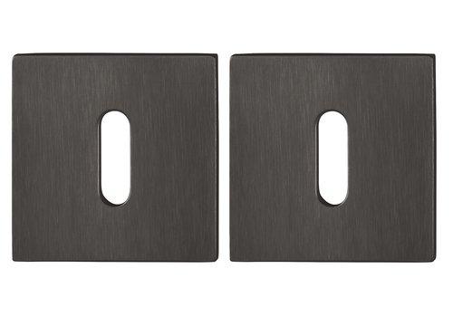 Hoppe Resista sleutelplaatjes vierkant 2mm - Zwart gesatineerd F96