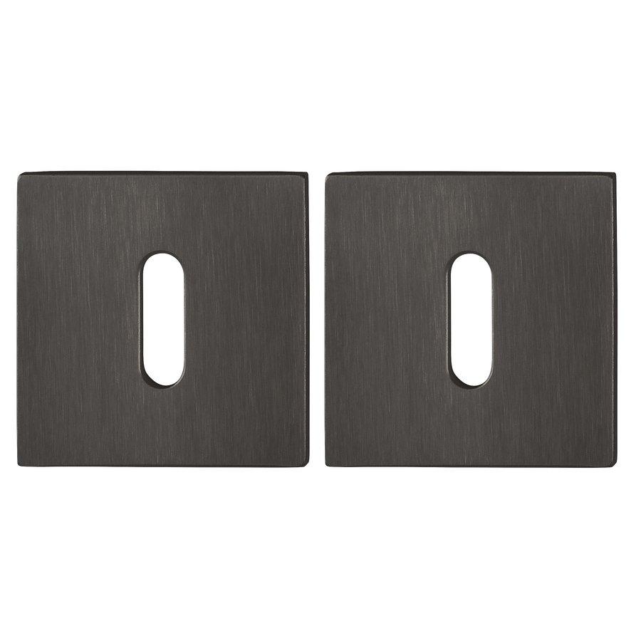 Hoppe Resista dunne sleutelplaatjes vierkant 2mm - Zwart gesatineerd F96