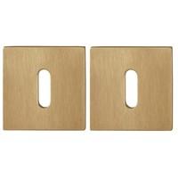 Hoppe Resista thin key plates square 2mm - Brass satin finish F78