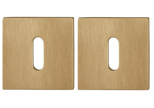 Hoppe Resista key plates square 2mm - Brass satin-finished F78