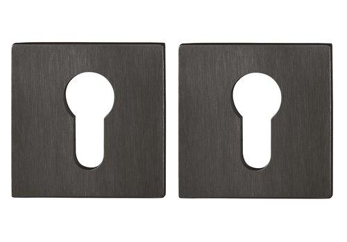 Hoppe cilinderplaatjes dun vierkant (2mm) Zwart gesatineerd Resista F96