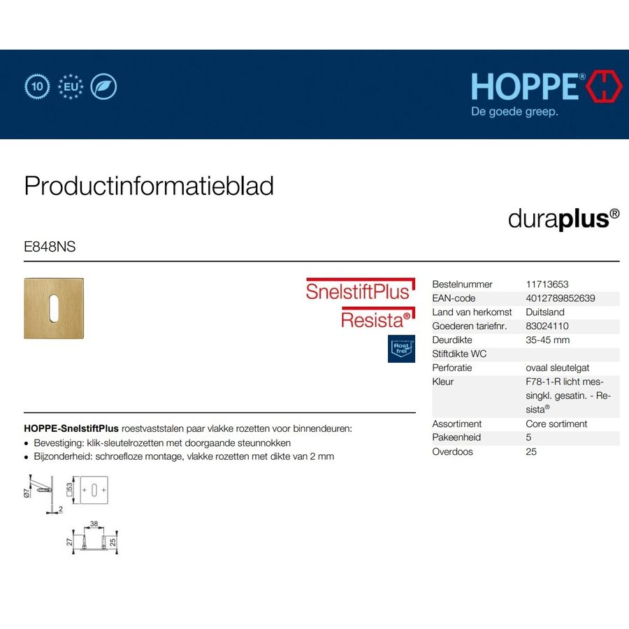 Hoppe cylinder plates thin square 2mm satin brass Resista F78