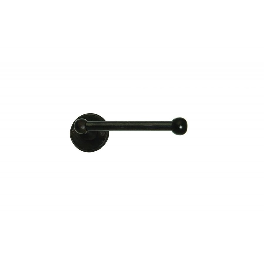 """PIECE HOLDER SINGLE AGED IRON - BLACK 150mm 'right / right """"- ROUND"""