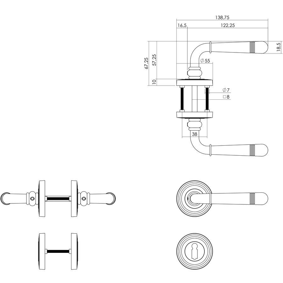 Deurkruk Emily op rozet Ø55X10mm met nokken en sleutelgatplaatjes PVD messing