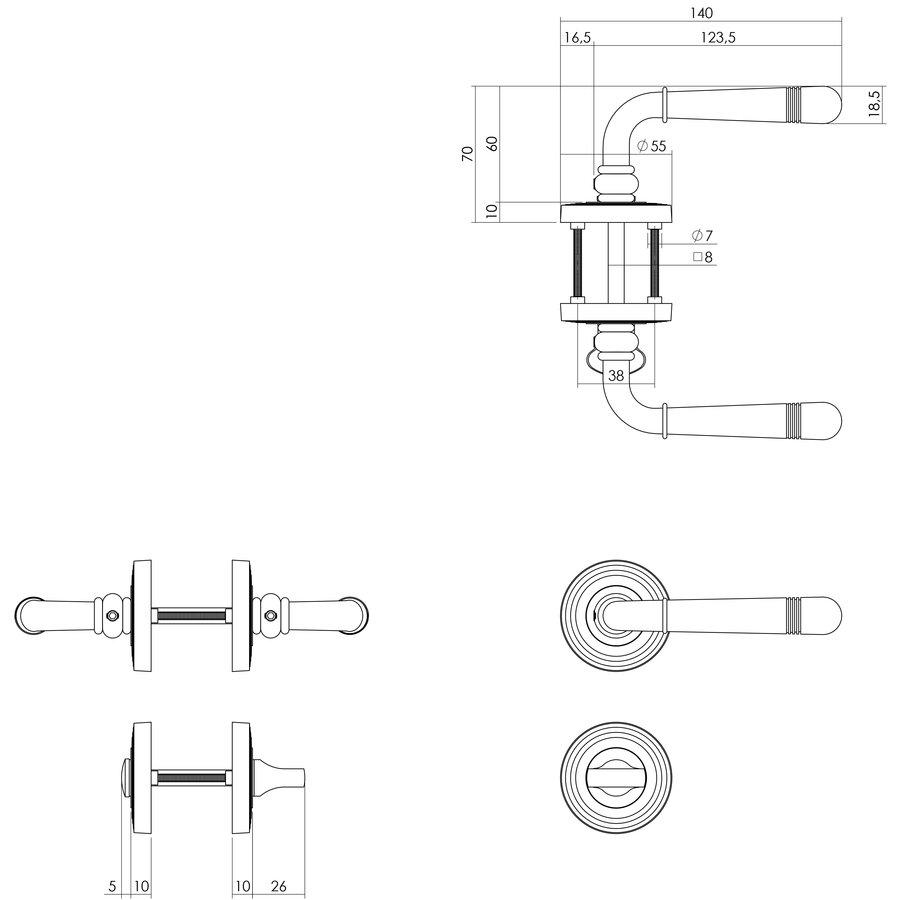 PVD Messing Deurklinken Emily op rozet Ø55X10mm met nokken en WC garnituur 8mm