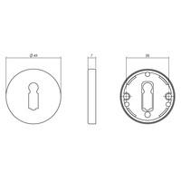 1 Rozet sleutelgat rond ∅49x7mm messing getrommeld