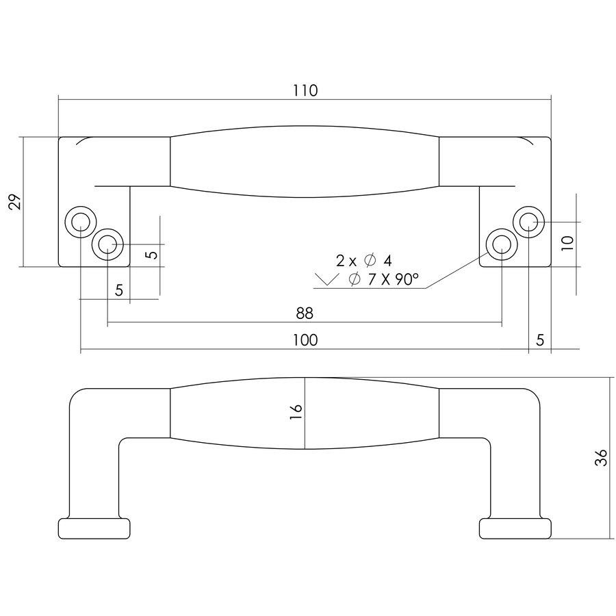 Intersteel Meubelgreep 108 mm nikkel mat zwart hout